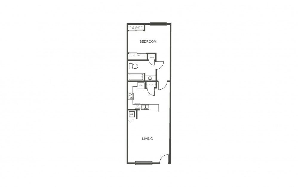 Azalea - 1 bedroom floorplan layout with 1 bath and 750 square feet (1st floor 2D)