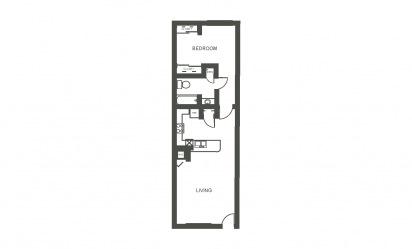 Azalea - 1 bedroom floorplan layout with 1 bath and 750 square feet