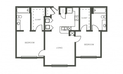 The Bluebonnet - 2 bedroom floorplan layout with 2 bath and 925 square feet