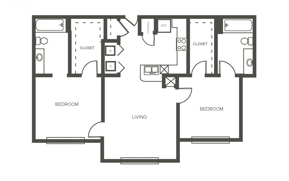 The Bluebonnet - 2 bedroom floorplan layout with 2 bath and 925 square feet (1st floor 2D)