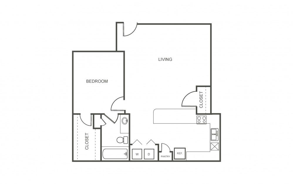 Gardenia - 1 bedroom floorplan layout with 1 bath and 750 square feet (1st floor 2D)