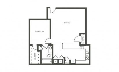 Gardenia - 1 bedroom floorplan layout with 1 bath and 750 square feet
