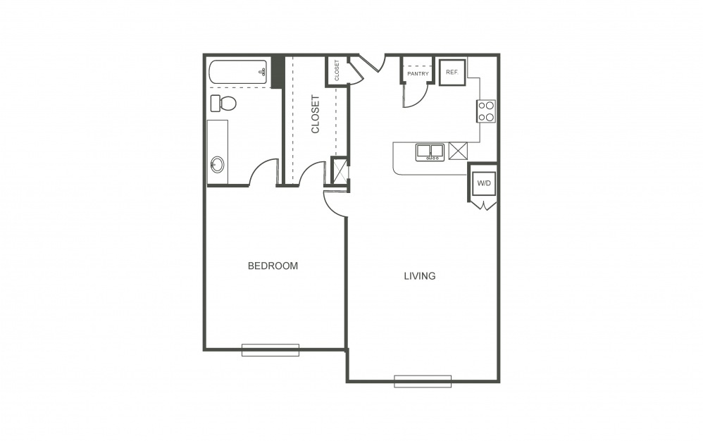 The Hyacinth - 1 bedroom floorplan layout with 1 bath and 750 square feet (1st floor 2D)