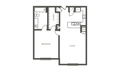 The Hyacinth - 1 bedroom floorplan layout with 1 bath and 750 square feet