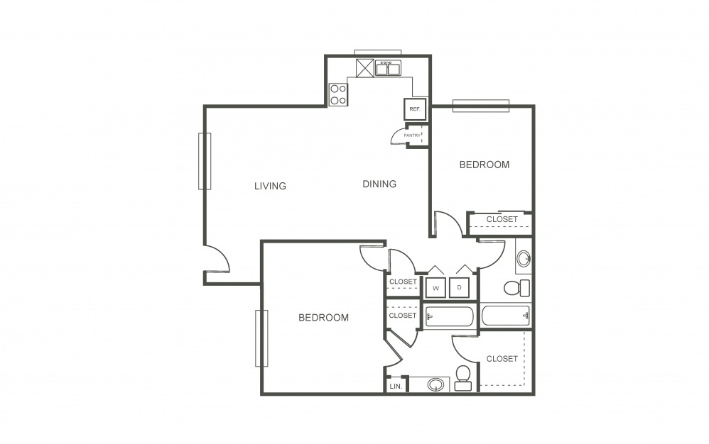 The Violet - 2 bedroom floorplan layout with 2 bath and 1028 square feet (1st floor 2D)