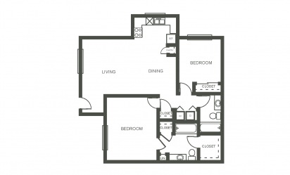 The Violet - 2 bedroom floorplan layout with 2 bath and 1028 square feet