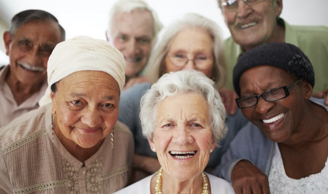 Homepage small ad with smiling seniors